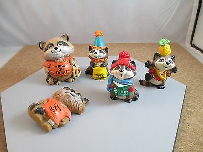 Vintage Estate Racoon Lot Shirt Tails Merry Miniatures Hallmark