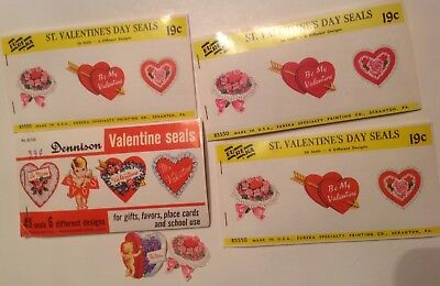 Vintage 4 Packs 50s 60s NOS Dennison Eureka Valentine's Day Stickers Seals Cupid