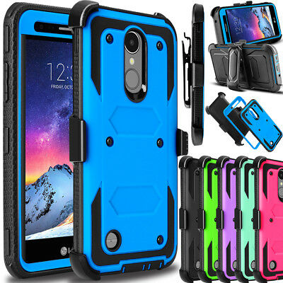 For LG Aristo 2/Rebel 4/Zone 4 Case Hybrid Rubber Clip Holster Hard Phone Cover