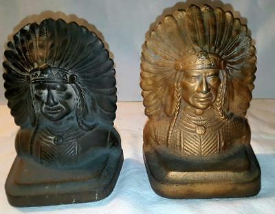 Antique Native American Solid Cast Iron Bronze Indian Chief Bookends