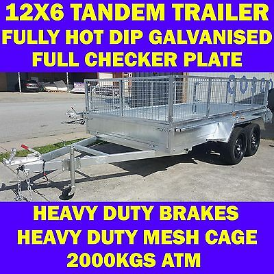 12x6 heavy duty galvanised tandem trailer with mesh cage 2000kgs atm