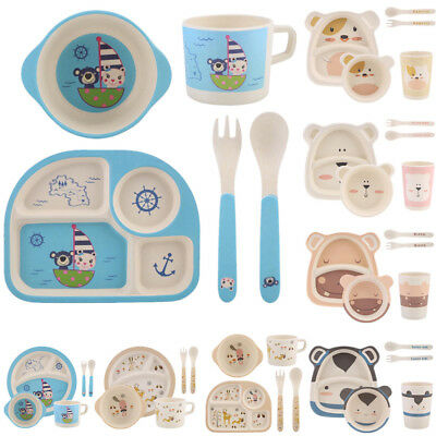 5x Bamboo Fibre Kids Meal Set Feeding Time Baby Dish Plate Cup Cutlery BPA Free