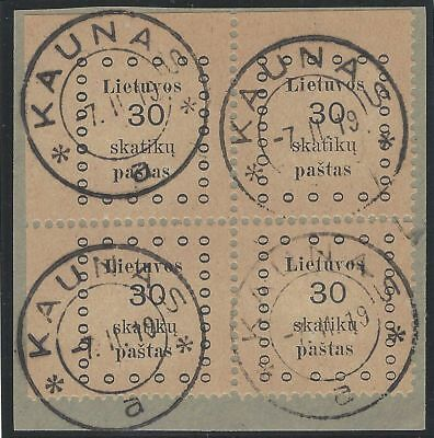 1919. 1st KAUNAS ISSUE. 30s corner block of four, VF used, top left sheet corner