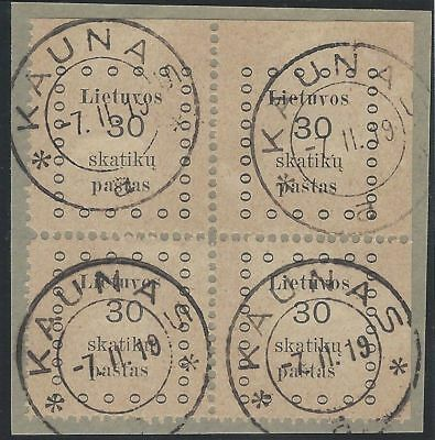 1919. 1st KAUNAS ISSUE. 30s corner block of four, VF used, from top right corner
