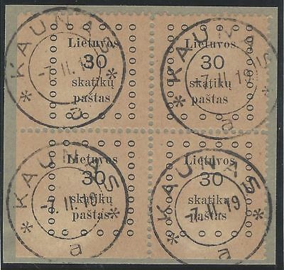 1919. 1st KAUNAS ISSUE. 30s corner block of four, VF used, lower left corner