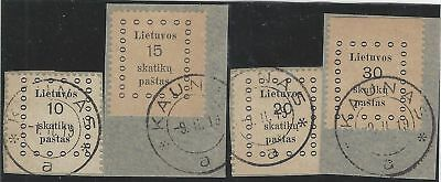 1919. 1st KAUNAS ISSUE. Set of four, VF used, all on piece, one side imperforate