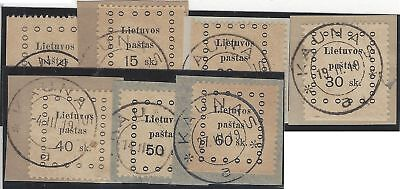 1919. 2nd KAUNAS ISSUE. Set of seven, VF used, all tied on piece some imperf