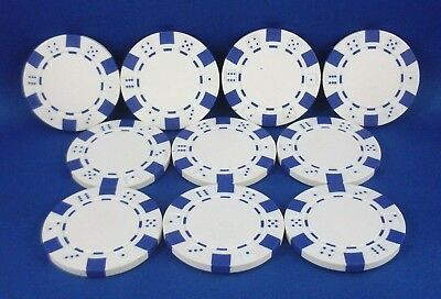 Replacement WHITE (10 Pc) Casino Styled Poker Chips Gaming Toy Hobby Accessory