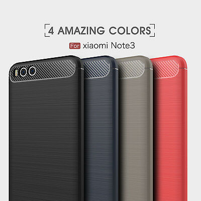 For Xiaomi Mi Note 3 Shockproof Hybrid Brushed Silicone Soft TPU Back Cover Case