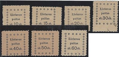 1919. 3rd KAUNAS ISSUE. Fine unused set of seven (INCLUDING ERRORS IN FRAME)