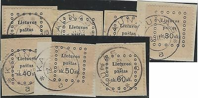 1919. 3rd KAUNAS ISSUE. Fine used set of seven, each value tied on small piece.