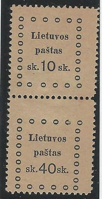 1919. 3rd KAUNAS ISSUE. 2nd Printing. SE-TENANT pair, 10s and 40s. Fine unused.