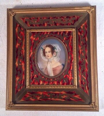Antique Miniature Painting Portrait With Inlayed Gilt Brass Frame
