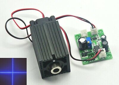 12V 405nm 50mW Violet Blue Diode Laser Module Cross Stage Lights w/ Cooling Fan