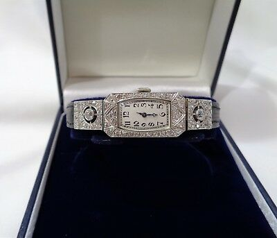 Antique French Art Deco 1.00ct Diamond Cocktail Watch 18ct Gold - Length 71/2 in