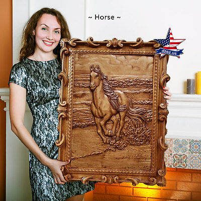 "39""/99cm Wood carved 3D picture Horse painting-art-icon-panel-frame"