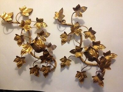 """Vintage Pair Italy Gold Tole Ivy Leaf Candelabra Wall Sconces 11.5"""" T & 10.25"""" T"""