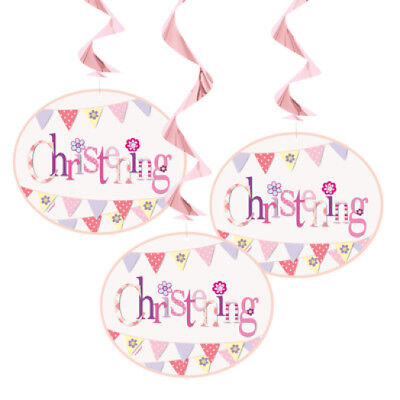 Girls Pink Christening Hanging Decorations - Pack of 3