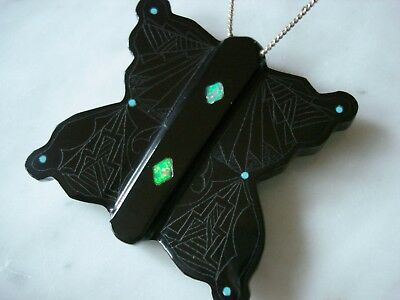 Zuni Butterfly Fetish Carving Black Marble Turquoise Opal by Sylvin Noche