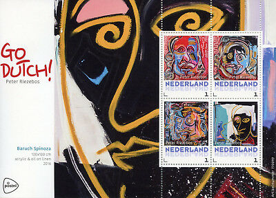 Netherlands 2017 MNH Baruch Spinoza Go Dutch Peter Riezebos 4v M/S Art Stamps