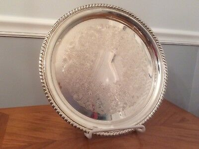 "Vintage Wm Rogers 171 Silver Plated Round Serving Tray, 12 1/2"" Round"