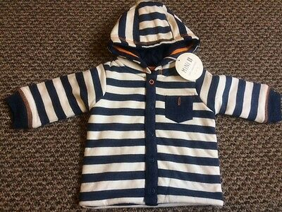Baby Boy BHS Hooded Wadded Jacket Coat Popper Navy Sizes 0-3 & 3-6 Months New!!