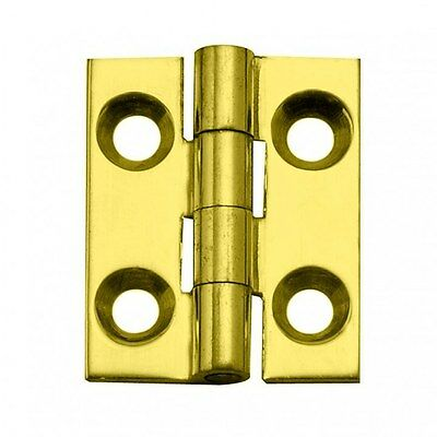 "Pair Of Solid Brass 1"" X 3/4"" Jewelry Box Hinges Lacquer Finish With Screw"