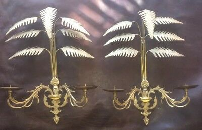Antique Vintage Hollywood Regency Palm Brass Candelabra Wall Sconces Pair Candle