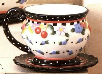Pre-Owned ● Mary Englebreit Tea Cup & Saucer CHERRIES & POLKA DOTS