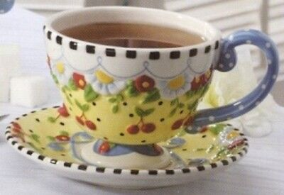 Pre-Owned ● Mary Englebreit Tea Cup & Saucer CHERRIES & DAISIES
