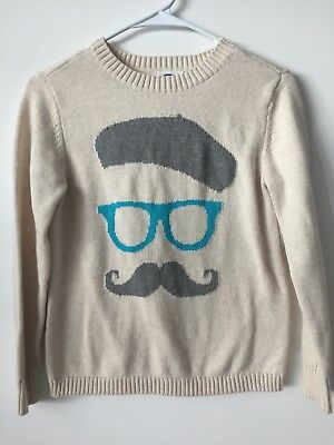 Old Navy Teen XL (14) Cream French Character Sweater Blue Grey