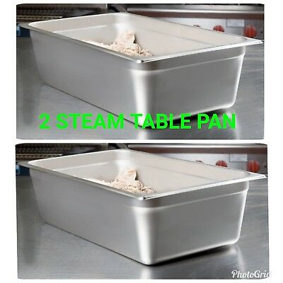 "2 Full Size 6"" Deep NSF 21 Quart Silver Stainless Steel Hotel Steam Table Pan"
