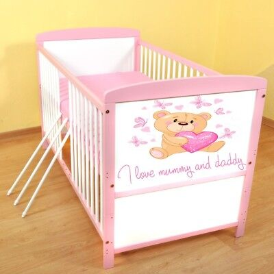 I love Mummy and Daddy 1 Wooden Baby Cot Bed ✔ Converts to Junior Bed✔Mattress