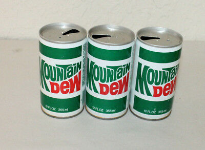Lot of 3 Steel Empty Mountain Dew Cans w/o Bottoms