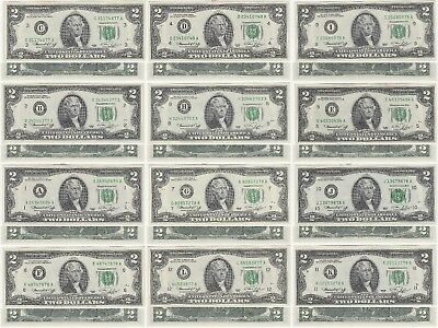 1976 $2 Bill 12 Note A-L District Set All Uncirculated Plus A First Day Of Issue