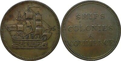ND (1800s) Canada Prince Edward Is. Double H Club Knob Half Penny Token Br #997