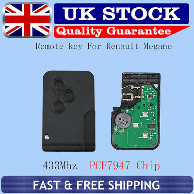 3Button 433Mhz REMOTE KEY REPLACE FOB FOR RENAULT CLIO MEGANE SCENIC WITH BLADE