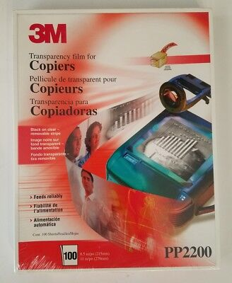 "3M Transparency Film PP 2200 Plain Paper Copiers, 8.5"" x 11"" - Box of 100 NIB"