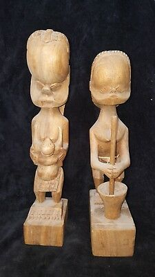 Large 2 Vtg Wood Carving African Art Woman w/Baby on the back & one in the front