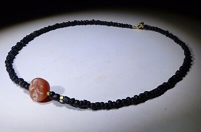 Ancient Roman Glass Bead Necklace With Seal- Circa 2Nd Century Ad - No Reserve