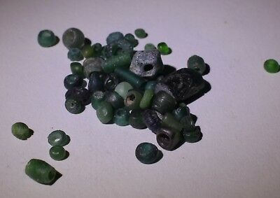 Ancient Roman Green Glass Beads Circa 2Nd Century Ad - No Reserve 03