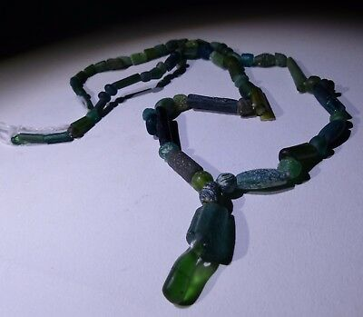 Ancient Roman Green Glass Bead Necklace - Circa 2Nd Century Ad - No Reserve! 013