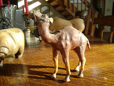 Handmade Paper Mache Leather Wrapped Camel Figure Figurine Statue Animal Deco
