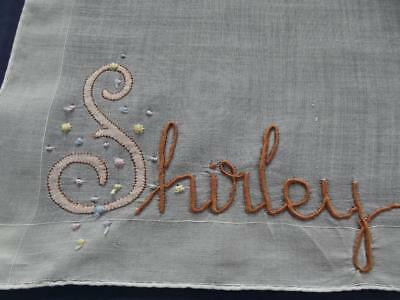 "Vintage Fine Swiss Handkerchief with Embroidered ""Shirley"" Name Moniker Hanky"