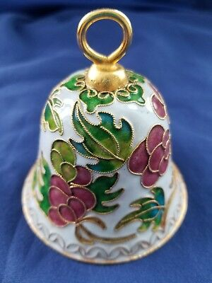 Vintage Glass Bell Gold Trim Intricate Detail Red/Pink, White, Blue & Green