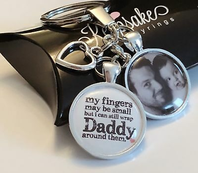 Personalised Photo Custom Keyring Wrap Daddy - Christmas Birthday Gift Box