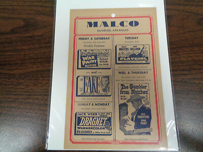 Malco Theatre Vintage Movie Ad Mcghee Arkansas War Paint/ Dragnet/the Fake