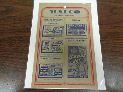 Malco Theatre Vintage Movie Ad Mcghee Arkansas The Glass Webb/ Sangaree