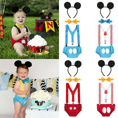 Baby Boy Mickey Mouse First 1st Birthday Outfit 4PCS Cake Smash Photo Shoot Prop