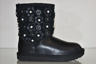 9d65a3257eb NEW UGG UGGS Kids Girls Classic Short II Petal Black Leather CRYSTALS Boots  2 32